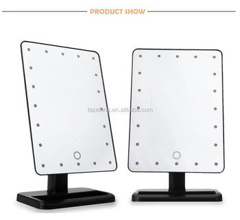 Led touch screen makeup mirror professional vanity mirror with 21 led lights adjustable countertop 360 degree rotation
