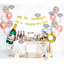 Pop the champagne banner,Rose gold balloon,Bride to be sash ,Veil set for bachelorette party decorations