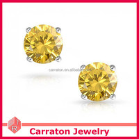 fashionable 925 sterling silver basket setting round yellow citrine cz stud earrings