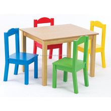 Free shipping furniture custom color wooden table and chairs for children