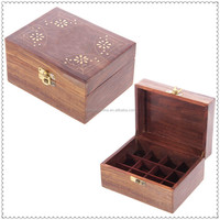 High quality new style customized logo Antique color wooden essential oil box wholesale