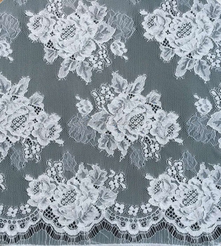 Beatiful floral nylon cotton lace fabric with eyelash for evening dress