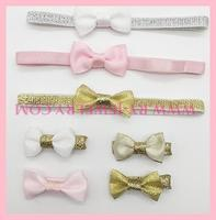 Glod with pink Baby Hair band and bow hairgrip set