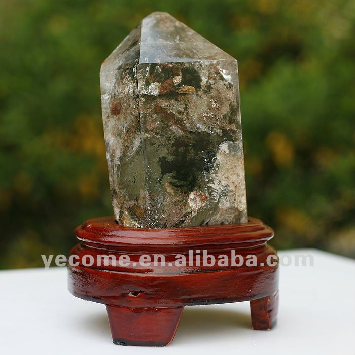 Natural Rock Citrine Quartz Crystal Point With Red Phantom