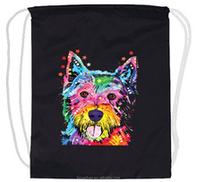 Wholesale custom printing fasion dog black fabric canvas drawstring backpack.