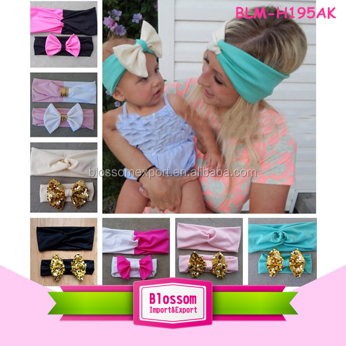 Hotsale Girls Baby infant Knotted Gold Headwraps Girls Glitter Butterfly Headbands
