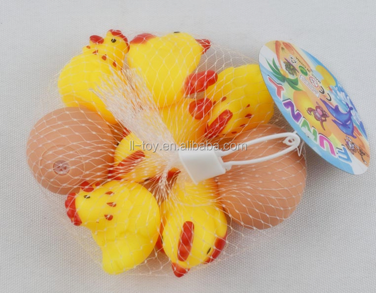 Wholesale 028 Plastic 6 pcs Chicken With 2 Egg Toys With Squeeze Sounds