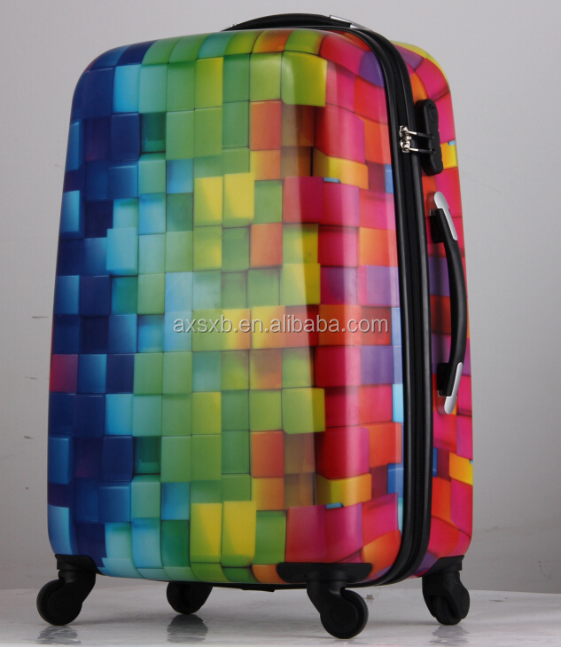 "printed abs pc zipper trolley luggage suitcase set with 20""24""28"""