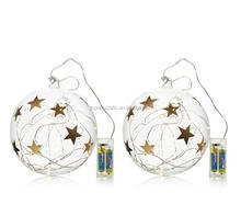 Christmas glass star baubles set of 2 home reflections hanging led light