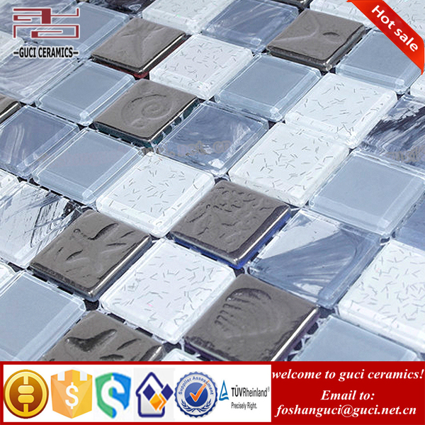 High quality crystal glass mixed Silver gray Resin mosaic tile for wall design