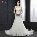 SL-035 Real Sale Appliques Mermaid Vestido De Renda Fishtail Wedding Dress Beaded Lace See Through 2016 New Arrival Bridal Gown