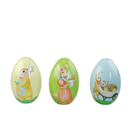 Decorative Easter egg shape uesd tin with bright color and fancy pattern tin gift
