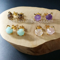 WT-E123 Lovely tiny gemstone 24k IPG plated stud earrings fashion Natural stone earrings