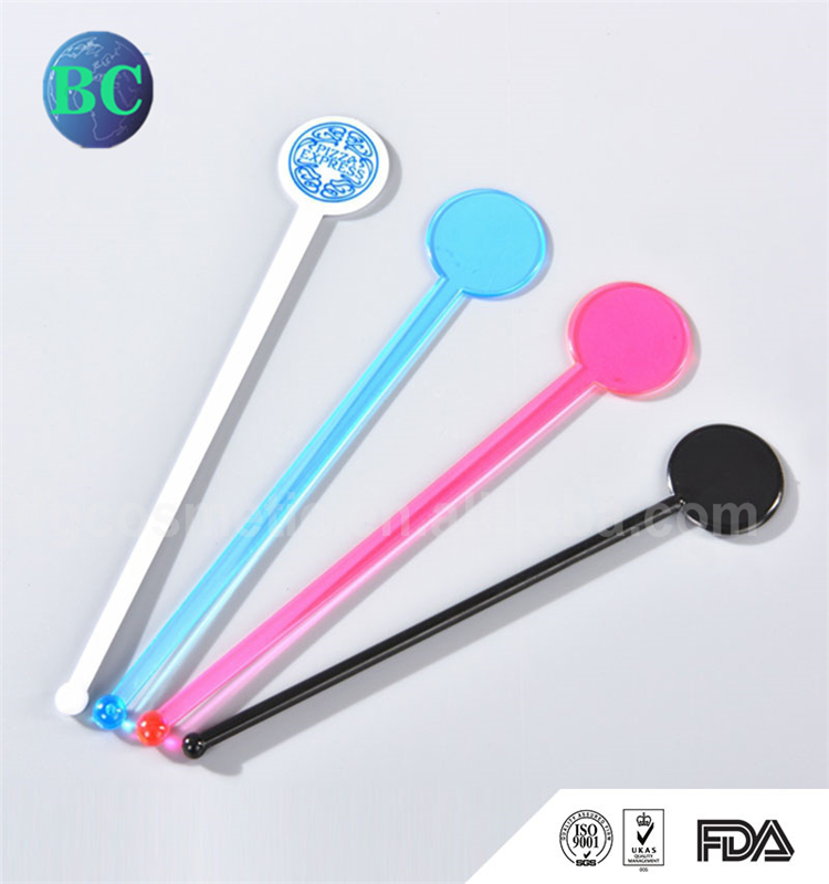Colorful Promotional Party Disposable Cocktail Drinking Custom Plastic Swizzle Sticks