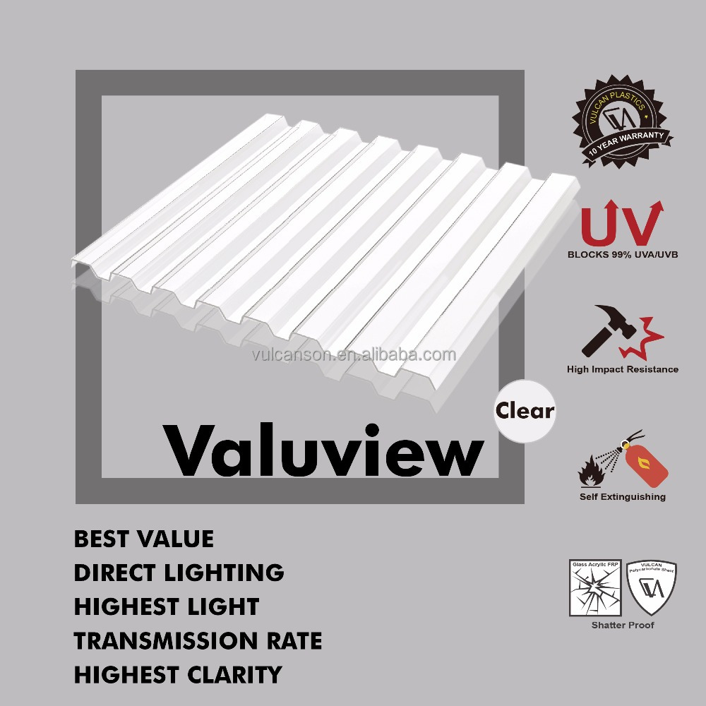 Clear Polycarbonate PC Corrugated GRECA wall and roofing Sheet (Valuview GRECA)