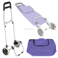 Folding wheeled lightweight shopping trolley grocery bag cart on wheels purple