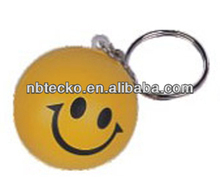 PU smile face keychain/stress reliever printed face keychain/anti stress printed ball keyring