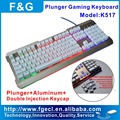 Plunger LED gaming keyboard with Aluminum topcase and double shot mechanical keycap
