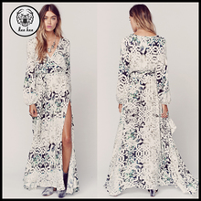 2015 Long Sleeve Plunge High Thigh Split Elegant Ladies Winter Maxi Dress for Women