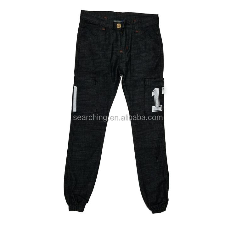 New arrival men's denim joggers fashion design with flap cargo pockets on the outside of each leg