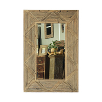 Rectangular Mango Wood Mirror With Carving Triangle Shape Frame