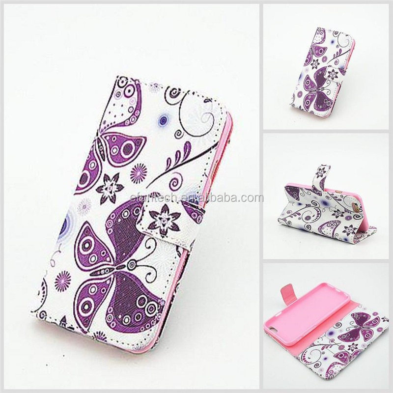 2016 Latest grils use cute image PU leather wallet flip mobile phone cover for iphone 6 6splus case