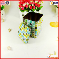 customed metal food contacted small packing pill square tin box