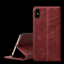 Nature Grain Genuine Cow Leather Wallet Cell Phone Case For iPhone X