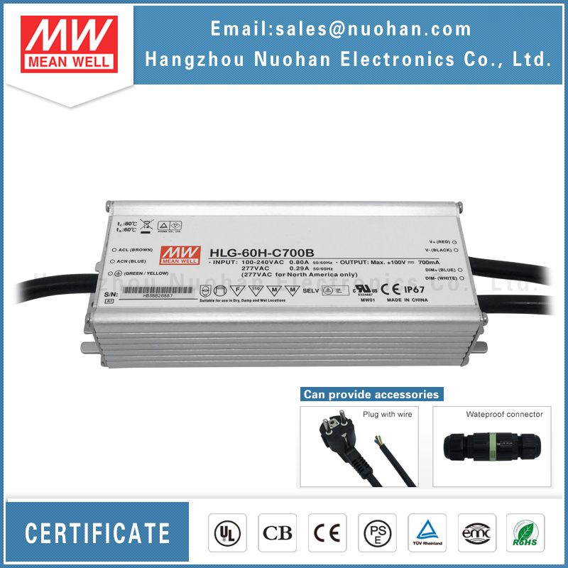 Mean well HLG-60H-C700B 60W led <strong>driver</strong> 700mA LED Power Supply 60W/dimming led <strong>driver</strong> 60w