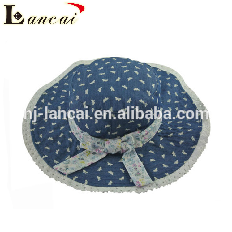 2018 New design high quality floppy cotton reversible print and denim print baby sun hat