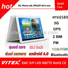 "10.1 "" MTK 6589 3G BT GPS Quad core CPU Android Phone tablet"