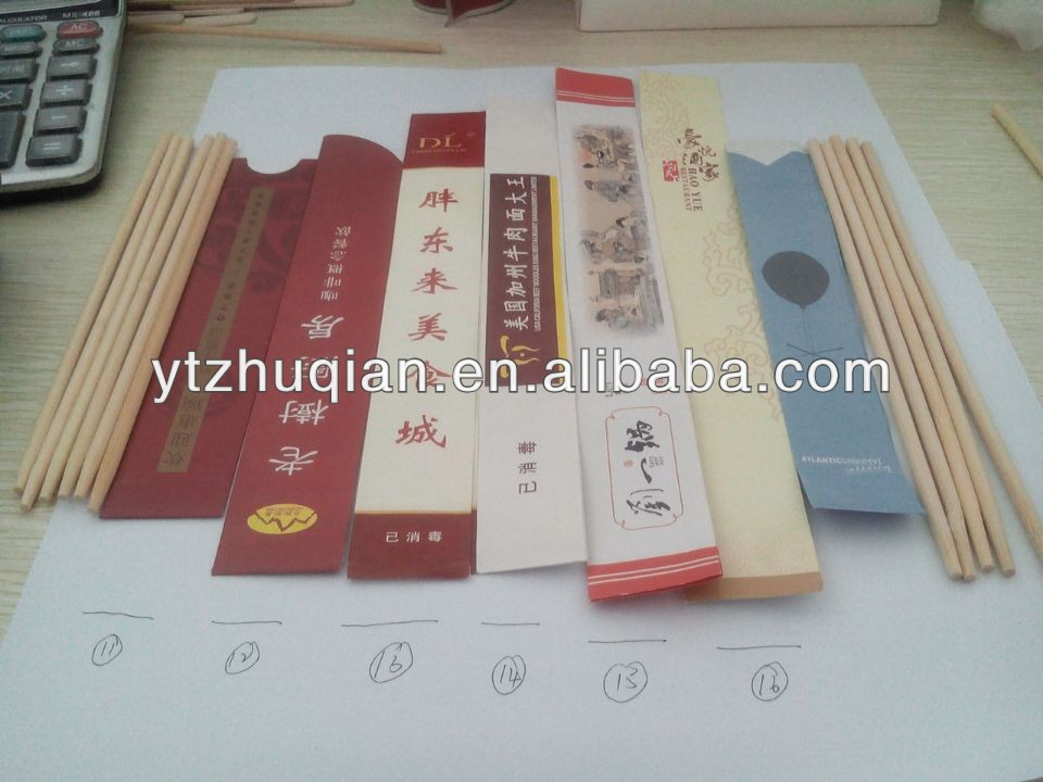 Many paper sleeve with logo disposable bamboo chopsticks