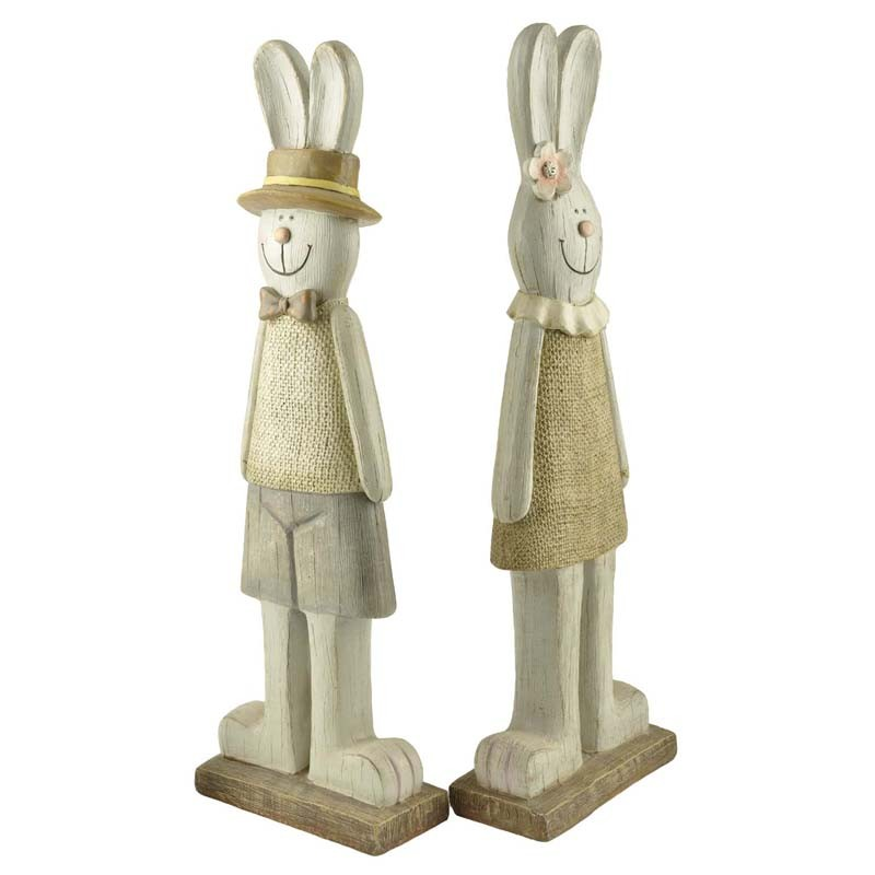 Polyresin large couple rabbit for decoration and gifts