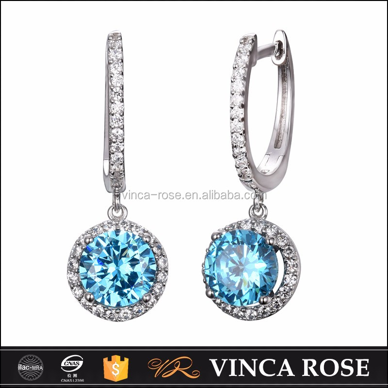 Light blue double round Earring women,hanging style for <strong>fashion</strong>