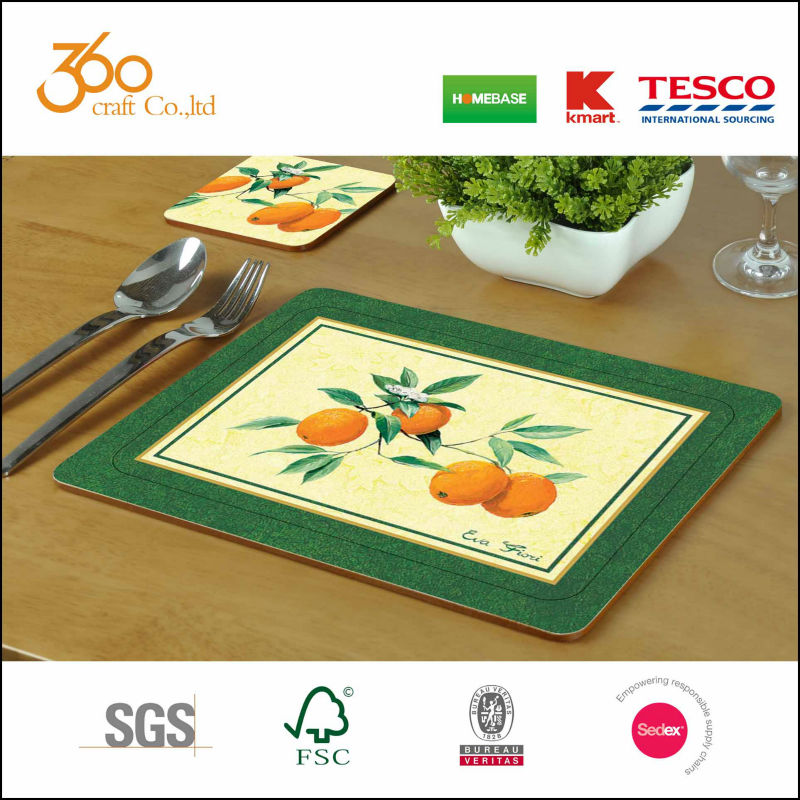 Cork Backed laminated Place Mats with Round Corner