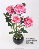 2015 manufacture wholesale home decoration new artificial rose flowers in ceramic pot