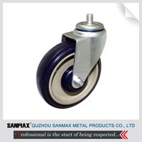 "SANMAX factory direct sale 5"" shopping cart caster wheel, blue PU swivel caster wheel"