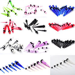 Acrylic Tapers/Double O-Rings Plugs Ear Gauges Stretching Kit Ear Plug Flesh Tunnel Plug Ear