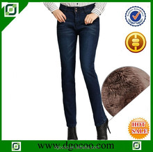 Ocoo Top design fashion moustach washed slim fit women winter warm denim fleece lining jeans