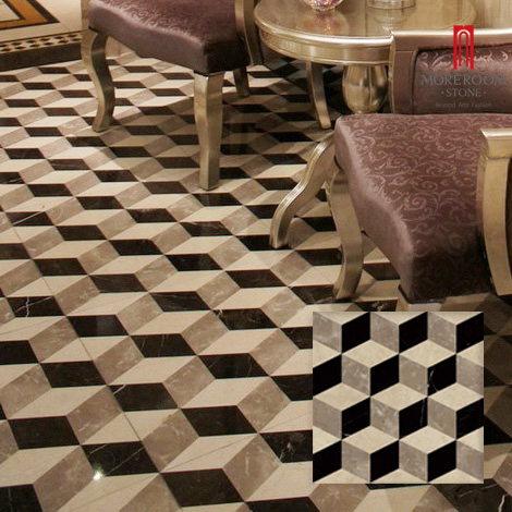 Laminated porcelain base water-jet 3d marble floor design