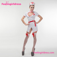 Cheap Hot Sex Open Chest White Dress Japanese Nurse Girl Costume