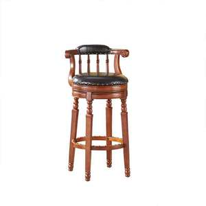High quality PU leather cushioned bar stool chair wood