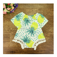 infant baby pineapple print cotton romper open snap crotch bodysuit