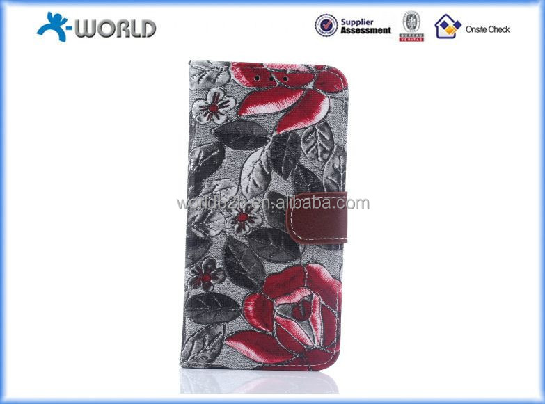 Retro Luxury Flowers Flip Book Style PU leather Wallet Stand Cover Case for samsung s6 edge
