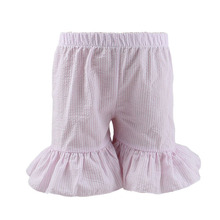 Girls Ruffle Seersucker Shorts single ruffle baby girl bloomer short