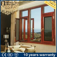 2016 New style aluminum casement window with fly net double tempering glasshigh quality wood color windows with screen
