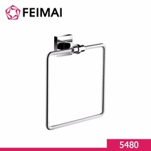 Square Brass Towel Ring for Home Bathroom Wall Mount Chrome 5480