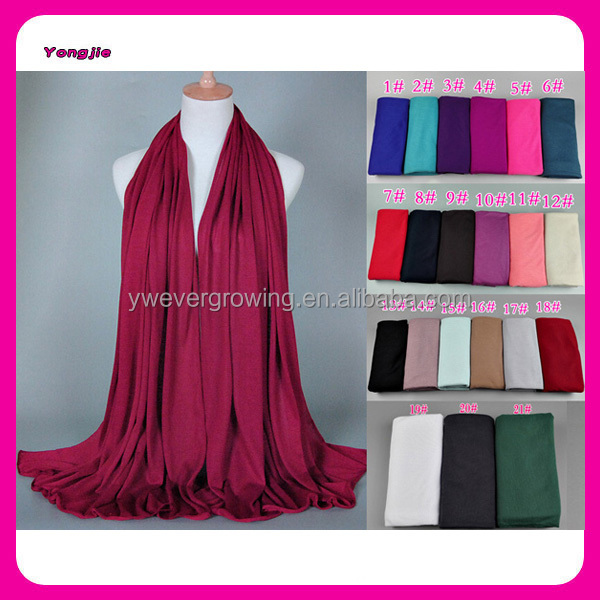 Multi Color Hot-selling Fashion Women Cotton Modal Scarf Muslim Head Wrap Hijab Long Solid Islamic Jersey Scarf Wholesale