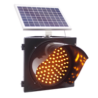300mm LED Solar Flashing Yellow Traffic Lights/Waterproof IP54 Solar Powered Yellow Blinking Traffic Light