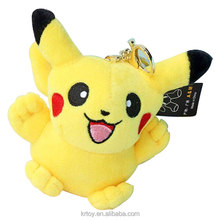 2017 custom 10cm cheap promotional Mini Pikachu animal stuffed soft plush keychain